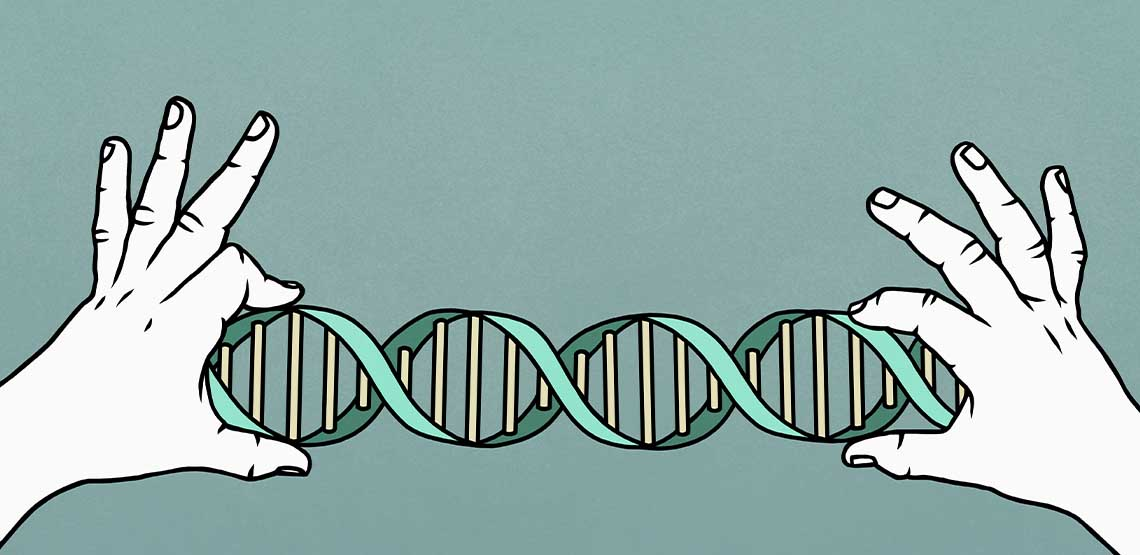 An illustration of a pair of hands holding a DNA strand.
