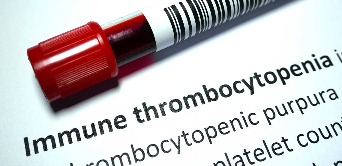 """A vile of blood and the words """"immune thrombocytopenia."""""""